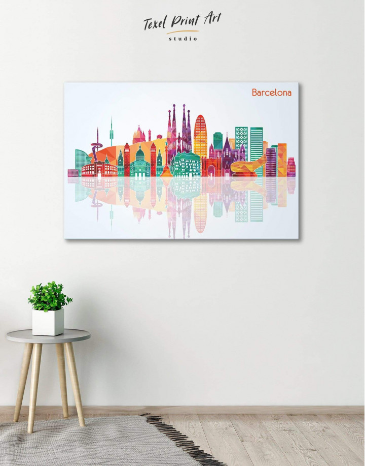 Barcelona Silhouette Canvas Wall Art - Image 0