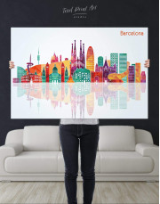 Barcelona Silhouette Canvas Wall Art - Image 2
