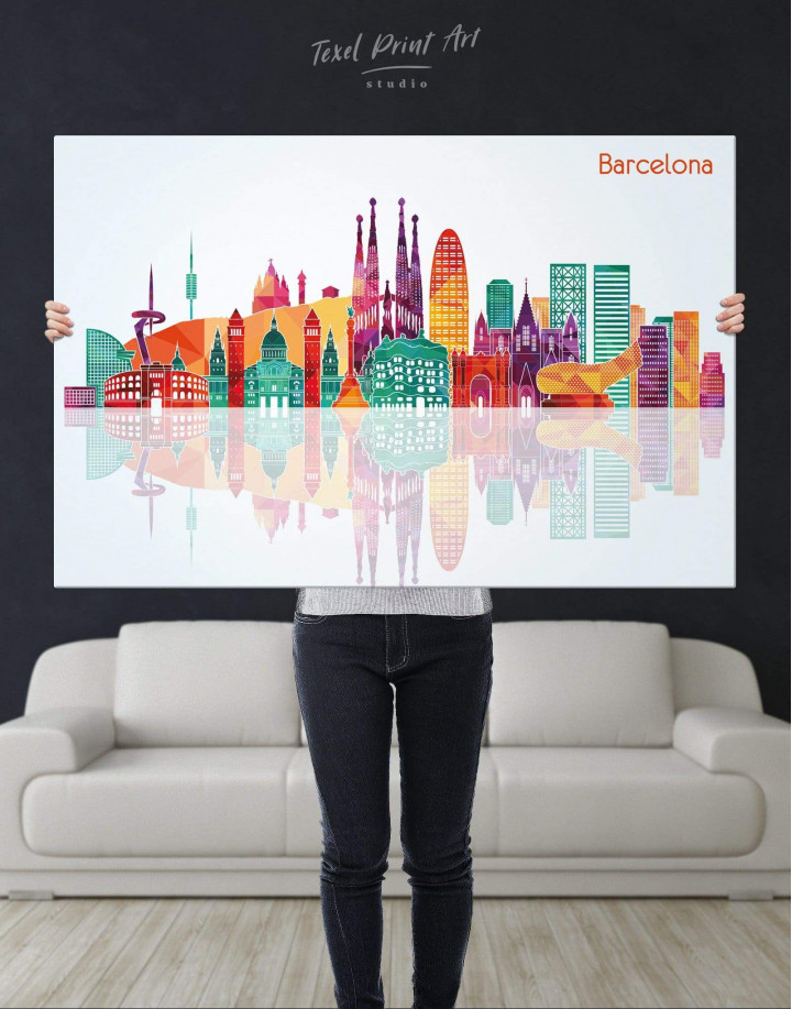 Barcelona Silhouette Canvas Wall Art - Image 2