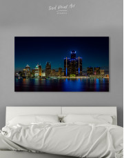 Night Detroit Skyline Canvas Wall Art - Image 1