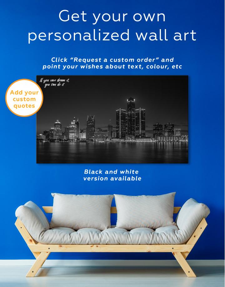 Night Detroit Skyline Canvas Wall Art - Image 6