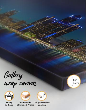 Night Detroit Skyline Canvas Wall Art - image 7