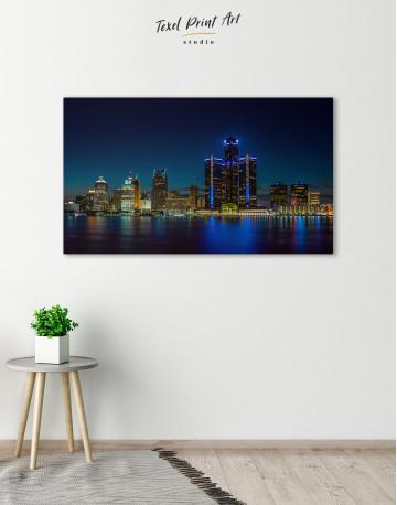 Night Detroit Skyline Canvas Wall Art - image 3