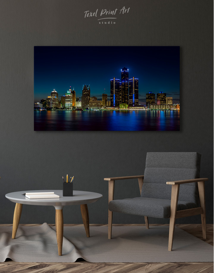 Night Detroit Skyline Canvas Wall Art - Image 2