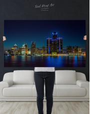 Night Detroit Skyline Canvas Wall Art - Image 8