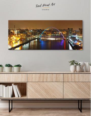 Night Arch Bridge Cityscape View Canvas Wall Art - image 3