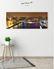 Night Arch Bridge Cityscape View Canvas Wall Art - Image 4