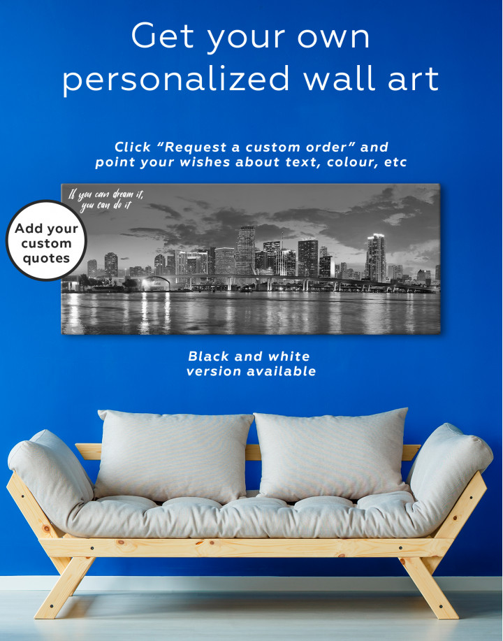 Panoramic Night Cityscape View Canvas Wall Art - Image 3