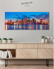 Panoramic Night Cityscape View Canvas Wall Art - Image 2