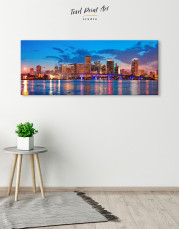 Panoramic Night Cityscape View Canvas Wall Art - Image 1