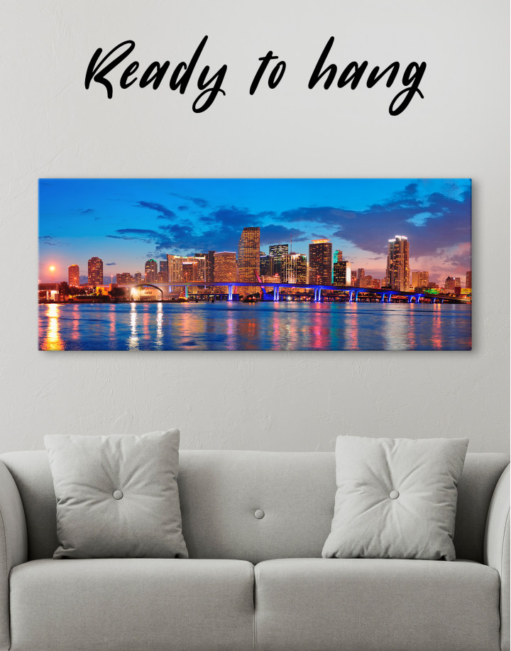 Panoramic Night Cityscape View Canvas Wall Art