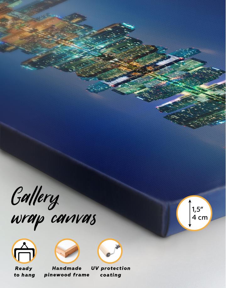 Night City Skyline Lights Canvas Wall Art - Image 9