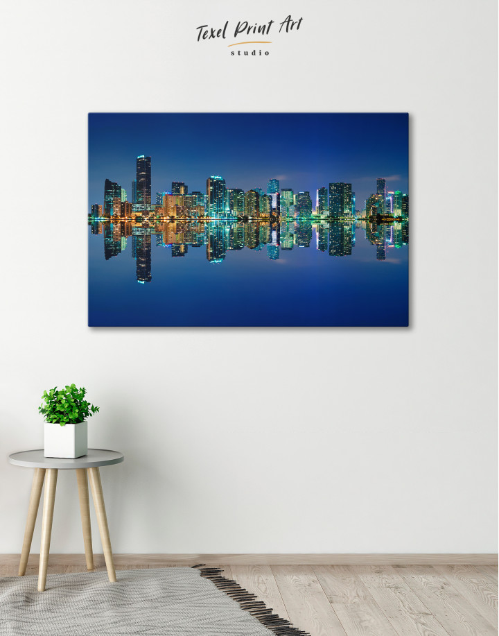 Night City Skyline Lights Canvas Wall Art