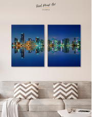 Night City Skyline Lights Canvas Wall Art - Image 7