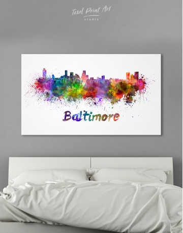 Colorful Baltimore Silhouette Canvas Wall Art