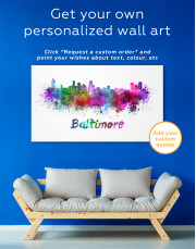 Colorful Baltimore Silhouette Canvas Wall Art - Image 3