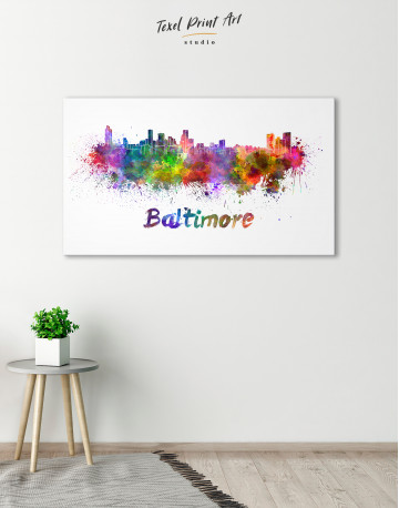 Colorful Baltimore Silhouette Canvas Wall Art - image 4