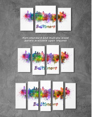 Colorful Baltimore Silhouette Canvas Wall Art - Image 5