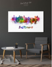 Colorful Baltimore Silhouette Canvas Wall Art - Image 6
