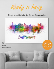 Colorful Baltimore Silhouette Canvas Wall Art - Image 7