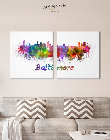 Colorful Baltimore Silhouette Canvas Wall Art - image 8