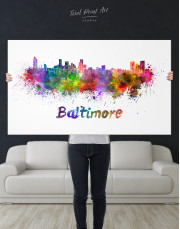 Colorful Baltimore Silhouette Canvas Wall Art - Image 1