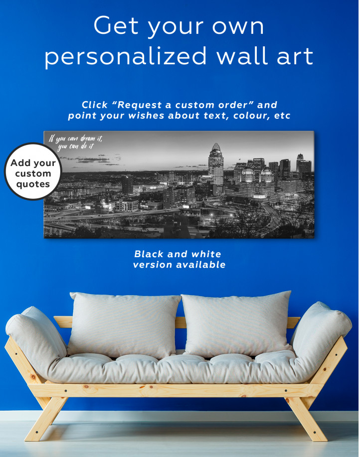 Panoramic Cincinnati Ohio Cityscape Canvas Wall Art - Image 4