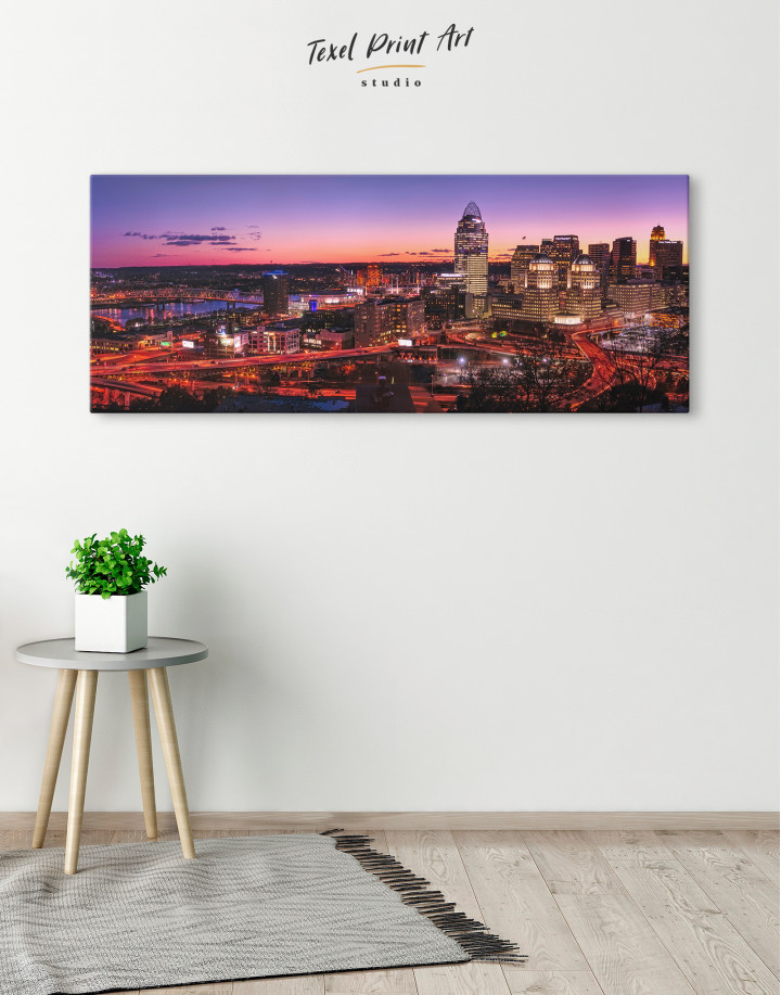 Panoramic Cincinnati Ohio Cityscape Canvas Wall Art - Image 2