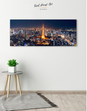 Night Panoramic Tokyo Cityscape Canvas Wall Art - Image 1