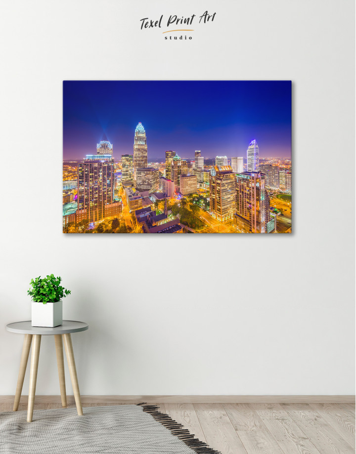 Night Raleigh Cityscape Canvas Wall Art - Image 5