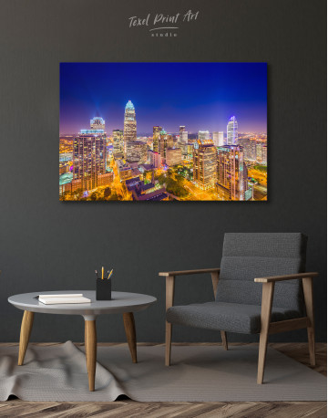 Night Raleigh Cityscape Canvas Wall Art - image 3
