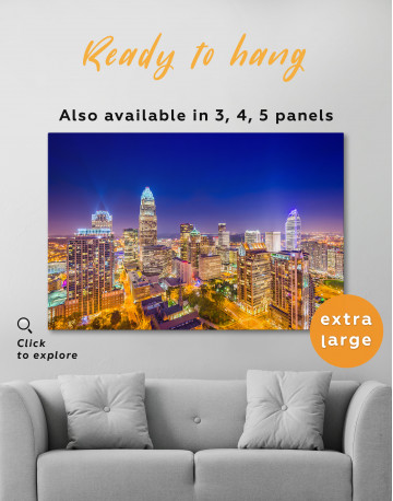 Night Raleigh Cityscape Canvas Wall Art - image 2