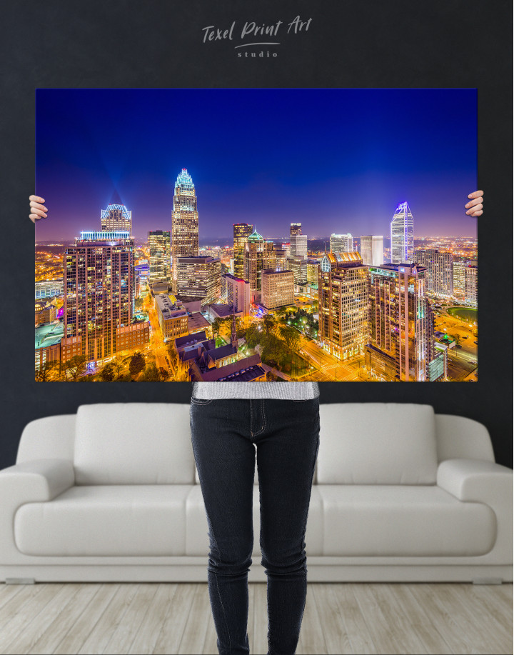 Night Raleigh Cityscape Canvas Wall Art - Image 8