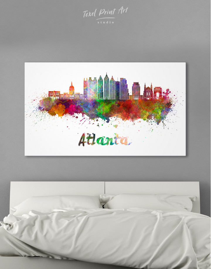 Colorful Atlanta Silhouette Canvas Wall Art