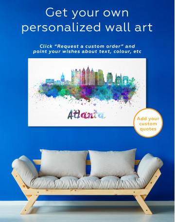 Colorful Atlanta Silhouette Canvas Wall Art - image 4