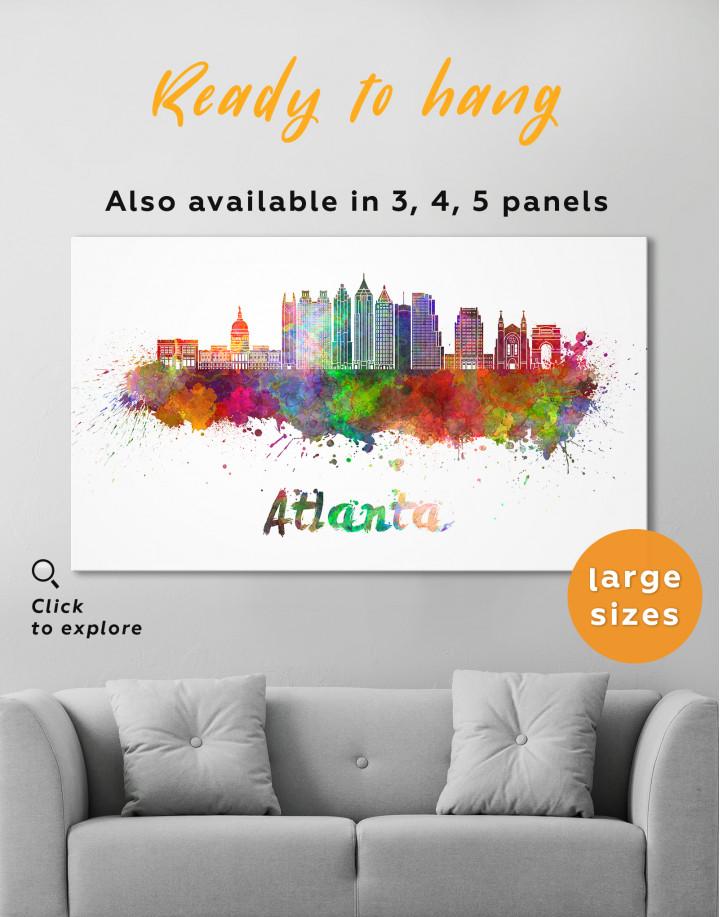 Colorful Atlanta Silhouette Canvas Wall Art - Image 1