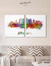 Colorful Atlanta Silhouette Canvas Wall Art - Image 7
