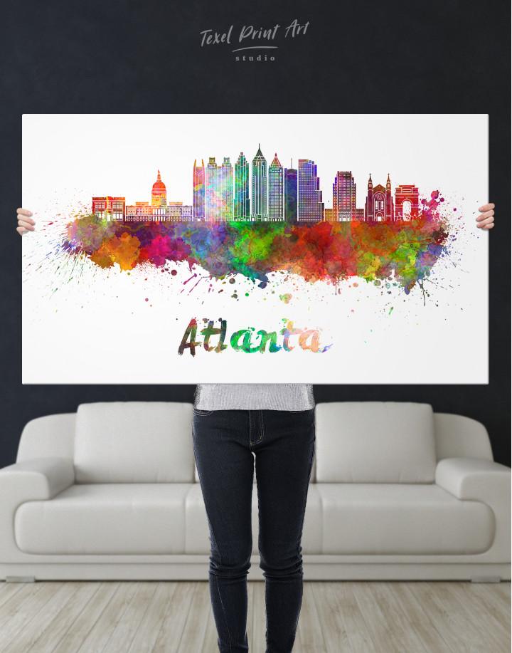 Colorful Atlanta Silhouette Canvas Wall Art - Image 6