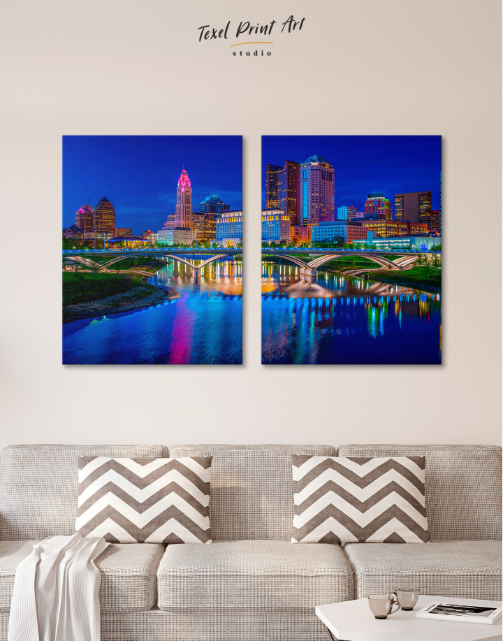 Night Bicentennial Park Syndey Scenic View Canvas Wall Art - Image 8