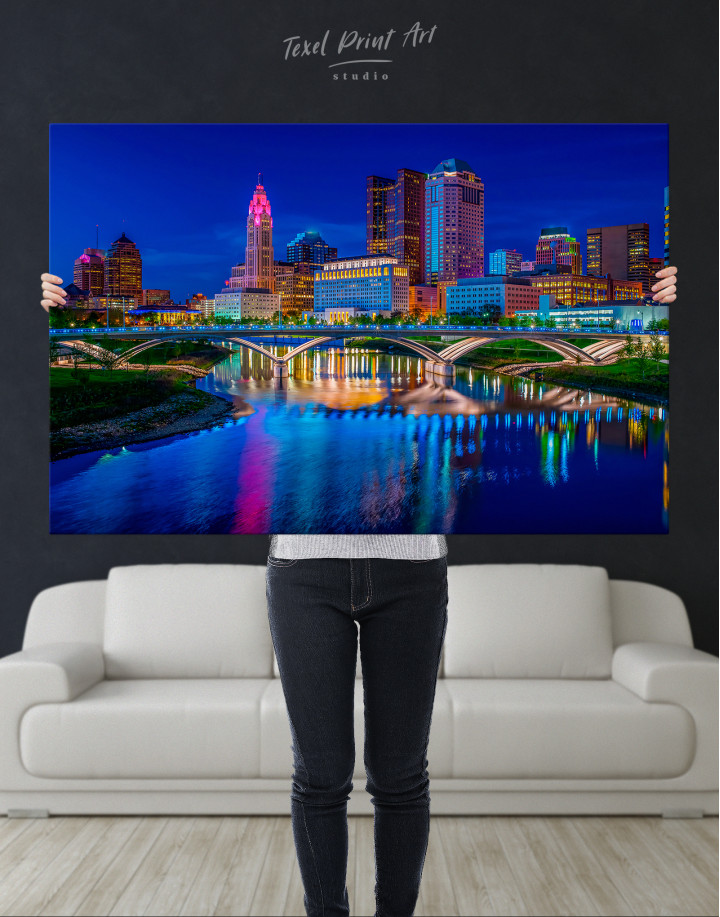 Night Bicentennial Park Syndey Scenic View Canvas Wall Art - Image 1