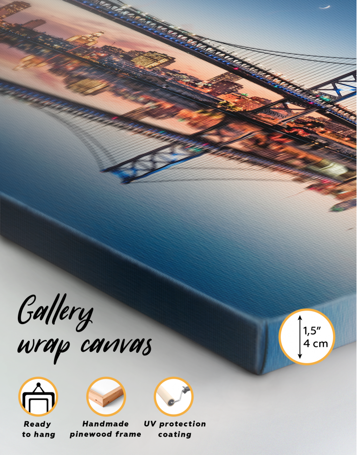 Benjamin Franklin Bridge Philadelphia Cityscape Canvas Wall Art - Image 9