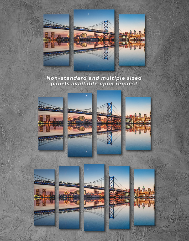 Benjamin Franklin Bridge Philadelphia Cityscape Canvas Wall Art - Image 6
