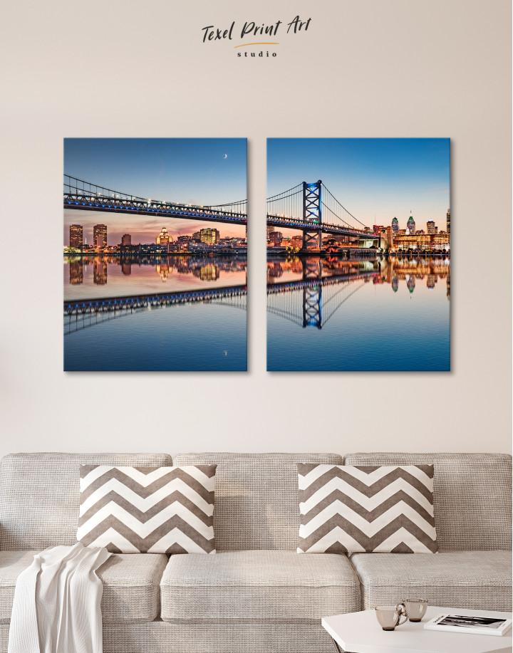 Benjamin Franklin Bridge Philadelphia Cityscape Canvas Wall Art - Image 2