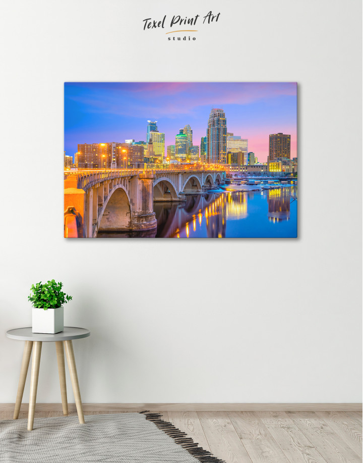 Downtown Minneapolis Cityscape Canvas Wall Art - Image 3