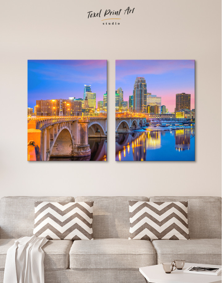 Downtown Minneapolis Cityscape Canvas Wall Art - Image 8