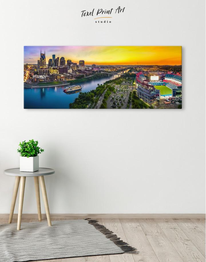 Panoramic Nashville Skyline Canvas Wall Art - Image 1