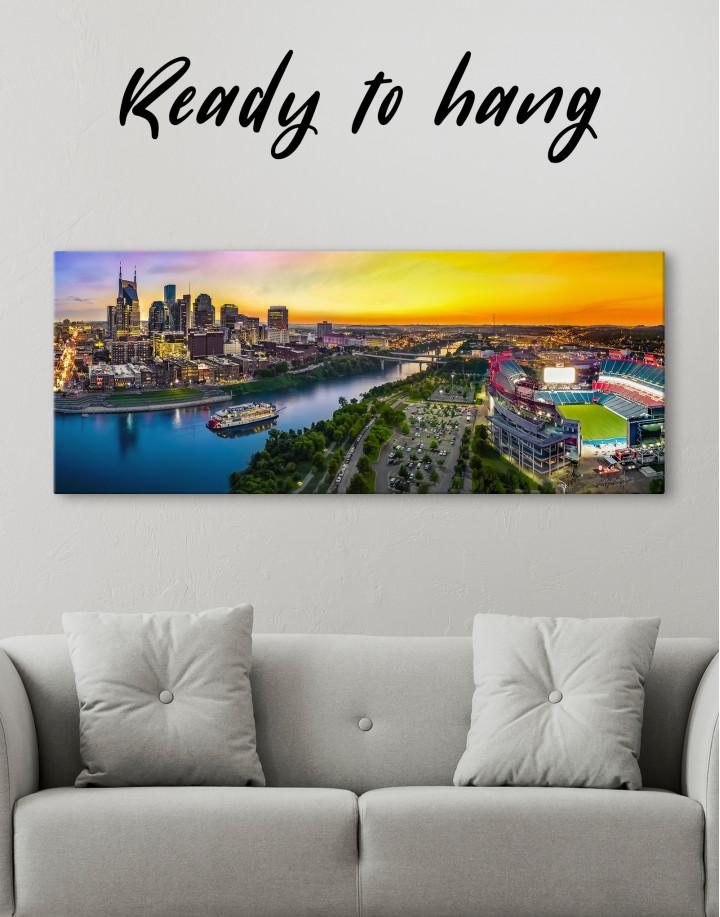 Panoramic Nashville Skyline Canvas Wall Art