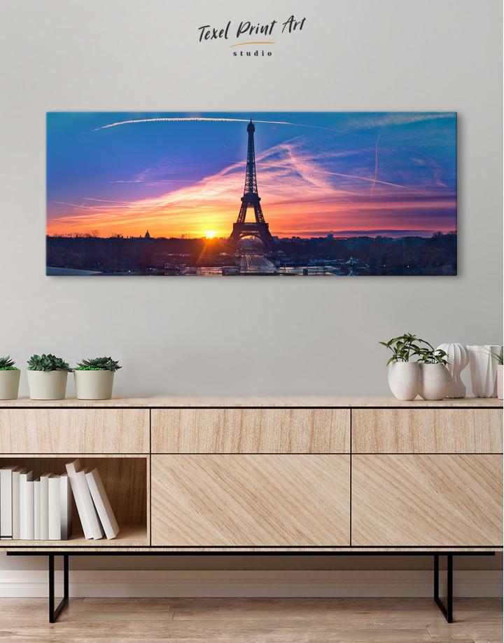 Panoramic Eiffel Tower Sunset Skyline Canvas Wall Art - Image 2