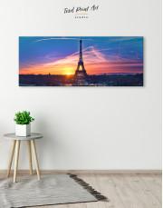 Panoramic Eiffel Tower Sunset Skyline Canvas Wall Art - Image 1