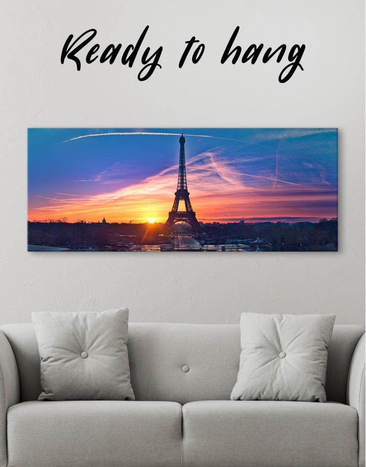 Panoramic Eiffel Tower Sunset Skyline Canvas Wall Art